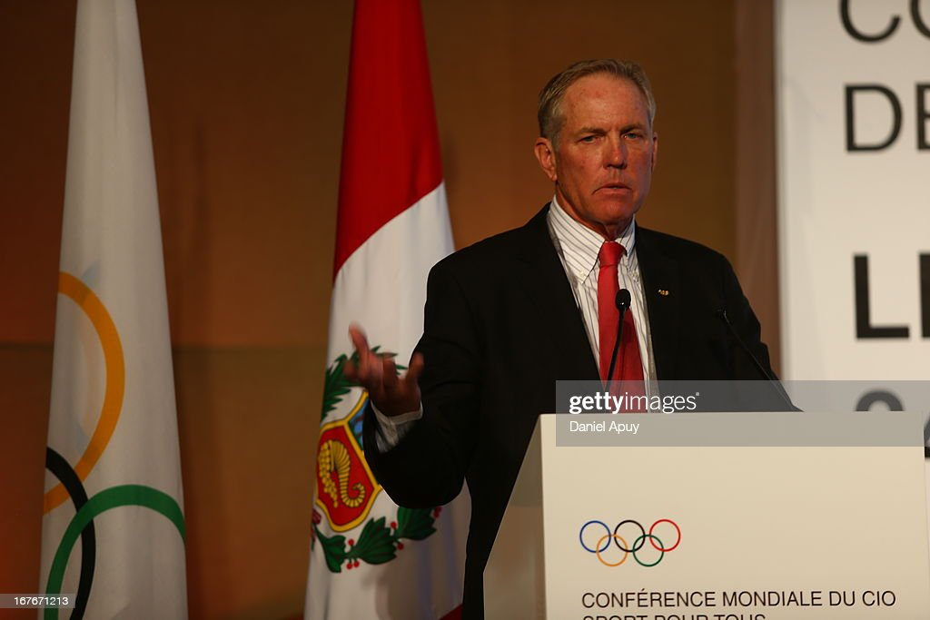 Gary W. Hall, Executive Director of WorldFit Foundation speaks during the Plenary Session #3 on sports associations as part of the closing day of the 15th IOC World Conference Sports For All at the Daniel A. Carrion Conference Center on April 27, 2013 in Lima, Peru.