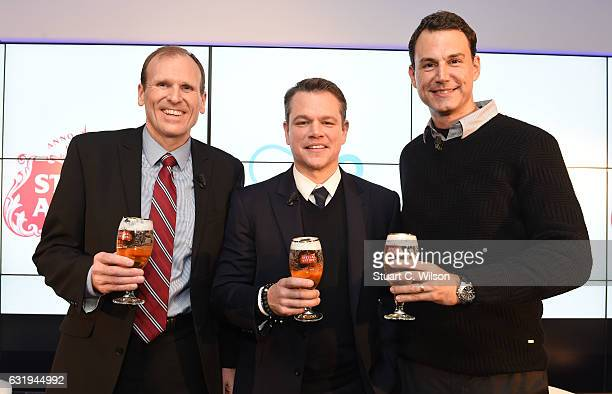 Gary White and Matt Damon cofounders of Waterorg and Ricardo Tadeu African Zone President of AB InBev along with Stella Artois and Waterorg Host a...