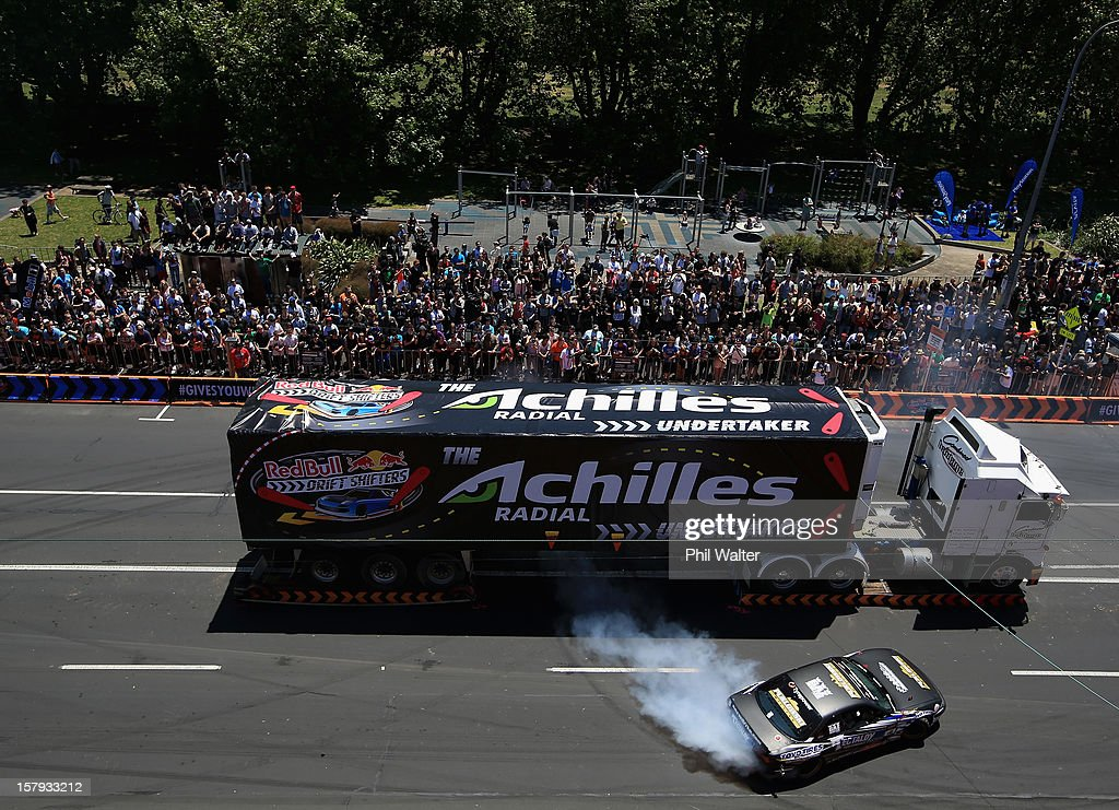 Gary Whiter of New Zealand competes in the Red Bull Drift Shifters along Victoria Street on December 8, 2012 in Auckland, New Zealand.