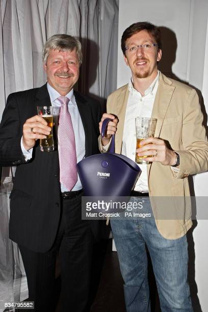 Gary Whitlie and Matteo Alessi during the launch party for the Peroni/Alessi collaboration range of bar accessories at the Hush bar in West London