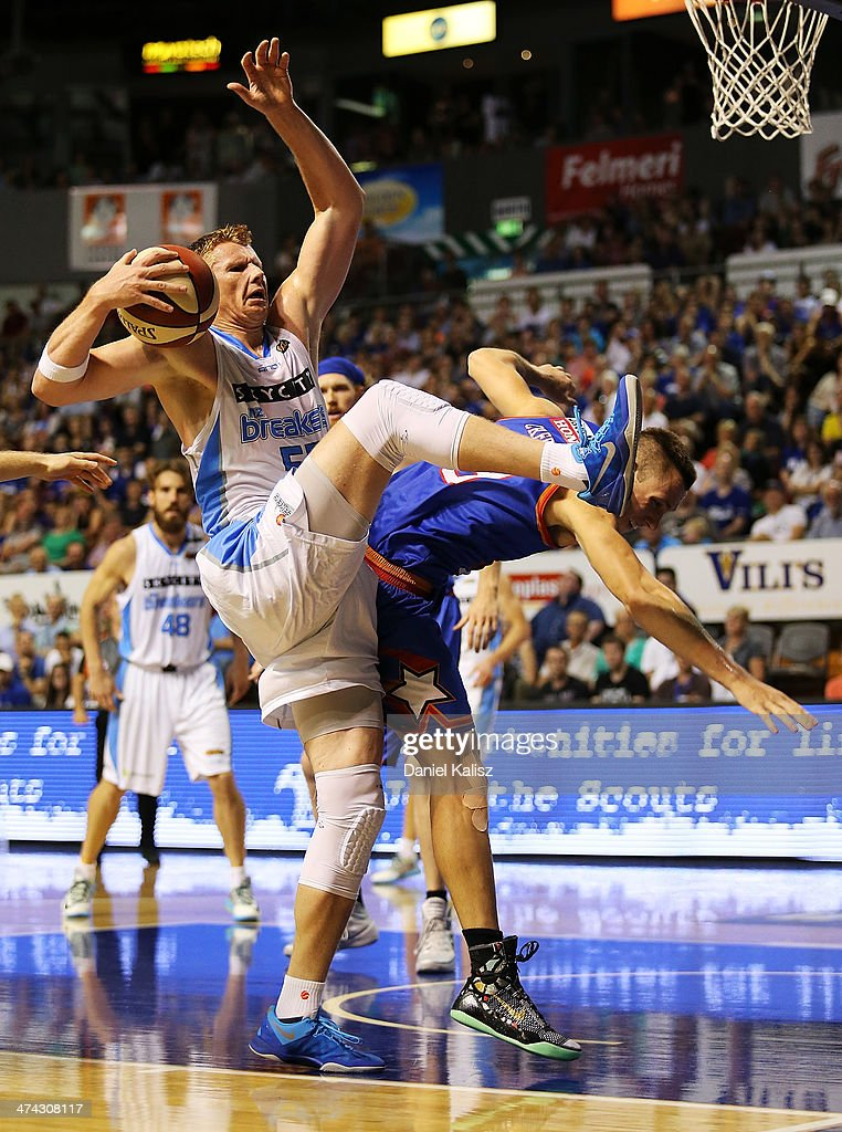 Gary Wilkinson of the Breakers contests for the ball during the round 19 NBL match between the Adelaide 36ers and the New Zealand Breakers at Adelaide Arena in February 23, 2014 in Adelaide, Australia.