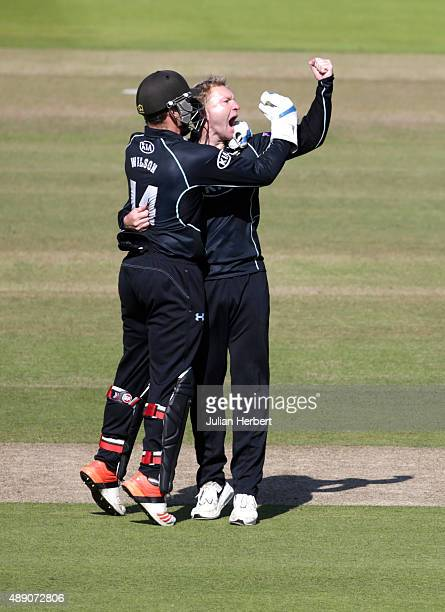 Gary Wilson and Gareth Batty of Surrey celebrate the wicket of Hamish Marshall of Gloustershire during the Royal London OneDay Cup Final between...