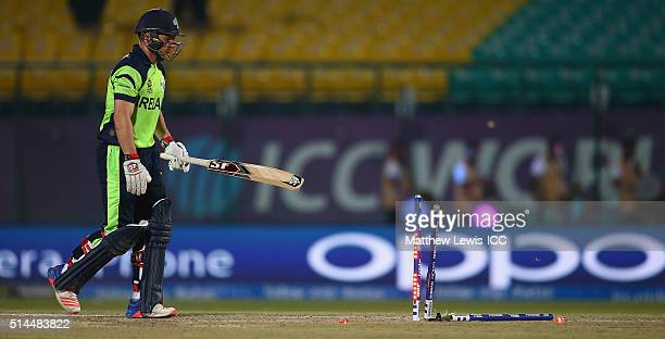 Gary Wilson of Ireland loks onafter being bowled by Munis Ansari of Oman during the ICC Twenty20 World Cup match between Ireland and Oman at the HPCA...