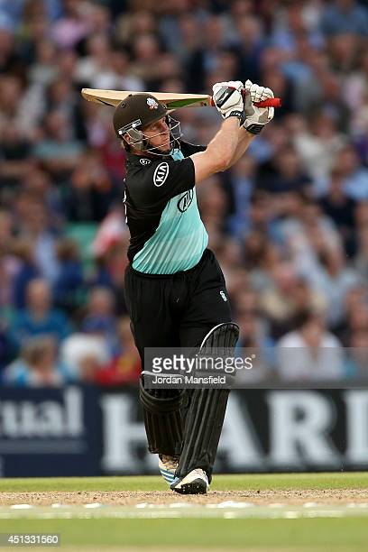 Gary Wilson of Surrey hits out during the Natwest T20 Blast match between Surrey and Hampshire at The Kia Oval on June 27 2014 in London England