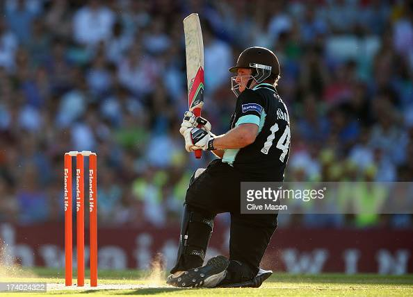 Gary Wilson of Surrey in action batting during the Friends Life T20 match between Surrey Lions and Hampshire Royals at The Kia Oval on July 19 2013...