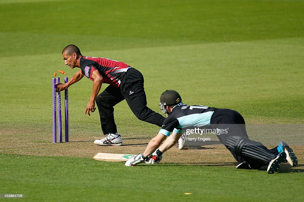 Gary Wilson of Surrey is run out by Alfonso Thomas of Somerset during the Royal London OneDay Cup match between Surrey and Somerset at The Kia Oval...