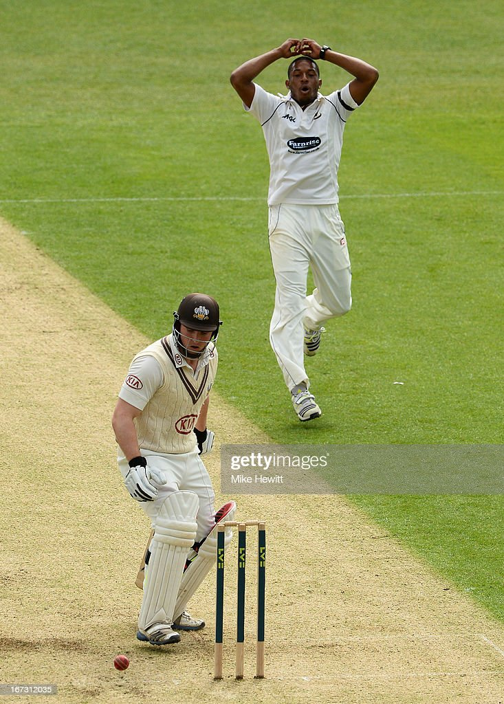 Gary Wilson of Surrey nearly plays on to a ball from Chris Jordan of Sussex during day one of the LV County Championship Division One match between Surrey and Sussex at The Kia Oval on April 24, 2013 in London, England.