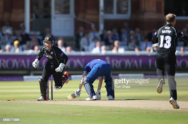 Gary Wilson of Surrey stumps Hamish Marshall of Goucestershire during the Royal London One Day Cup Final between Gloucestershire and Surrey at Lord's...