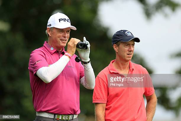 Gary Wolstenholme and Gary Marks of England look on during the second round of the Willow Senior Golf Classic played at Hanbury Manor Marriott Hotel...