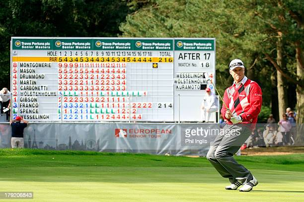 Gary Wolstenholme of England in action during the final round of the Travis Perkins plc Senior Masters played on the Duke's Course Woburn Golf Club...