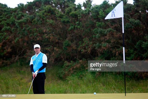 Gary Wolstenholme of England in action during the final round of the Prostate Cancer UK Scottish Senior Open played at the Fidra Course Archerfield...