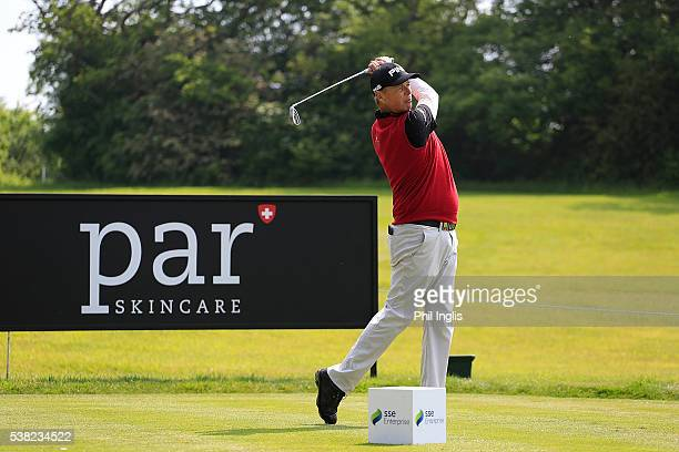 Gary Wolstenholme of England in action during the final round of the SSE Enterprise Wales Senior Open played on the Roman Road Course Celtic Manor...