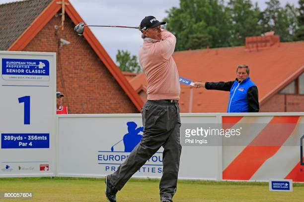 Gary Wolstenholme of England in action during the final round of the European Tour Properties Senior Classic played at Linna Golf on June 23 2017 in...