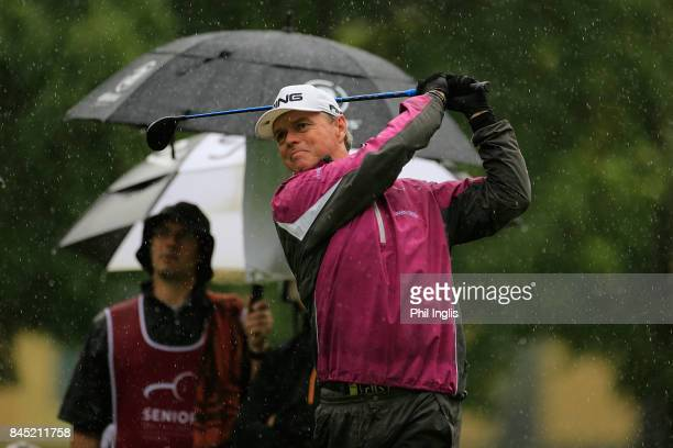 Gary Wolstenholme of England in action during the final round of the Senior Italian Open presented by Villaverde Resort played at Golf Club Udine on...