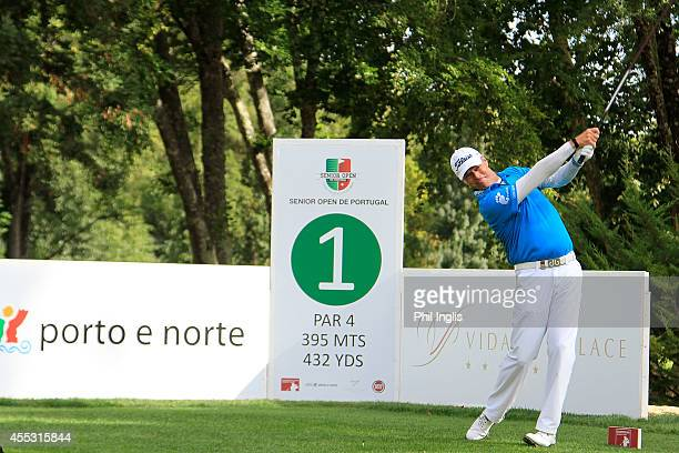 Gary Wolstenholme of England in action during the first round of the Senior Open de Portugal played at Vidago Palace on September 12 2014 in Porto...