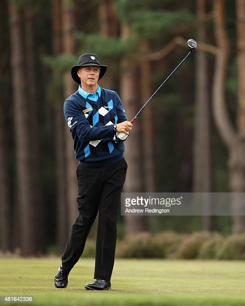Gary Wolstenholme of England in action during the first round of The Senior Open Championship at Sunningdale Golf Club on July 23 2015 in Sunningdale...