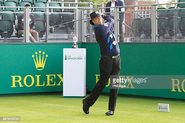 Gary Wolstenholme of England in action during the first round of The Senior Open Championship played at Sunningdale Golf Club on July 23 2015 in...