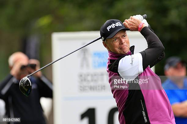 Gary Wolstenholme of England in action during the first round of the Prostate Cancer UK Scottish Senior Open played on the Fidra Course Archerfield...
