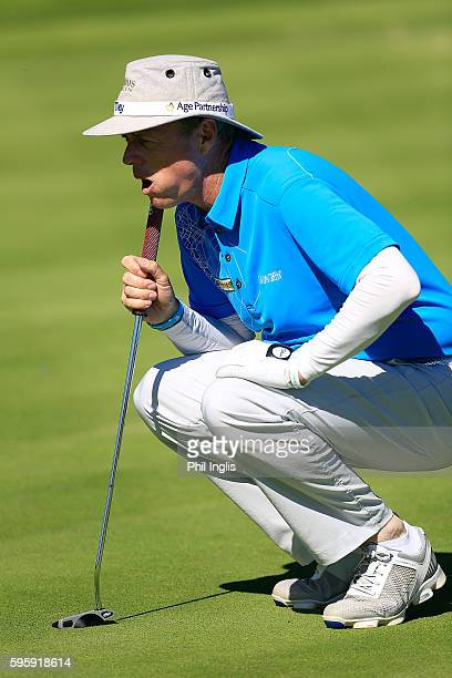 Gary Wolstenholme of England in action during the first round of the Willow Senior Golf Classic played at Hanbury Manor Marriott Hotel and Country...