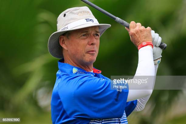Gary Wolstenholme of England in action during the first round of the Sharjah Senior Golf Masters at Sharjah Golf Shooting Club on March 16 2017 in...