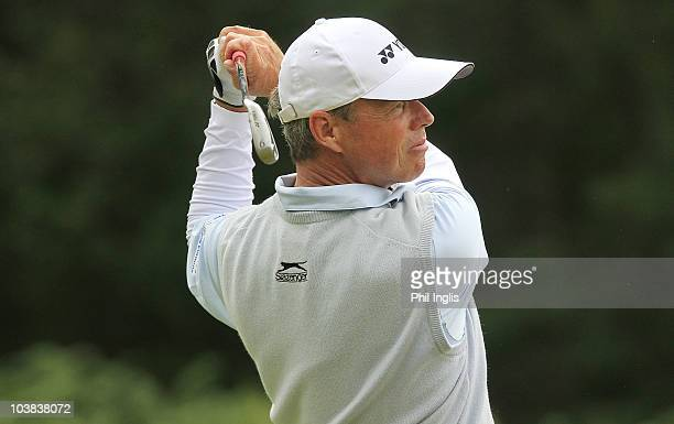 Gary Wolstenholme of England in action during the second round of the Travis Perkins plc Senior Masters played at the Duke's Course Woburn Golf Club...