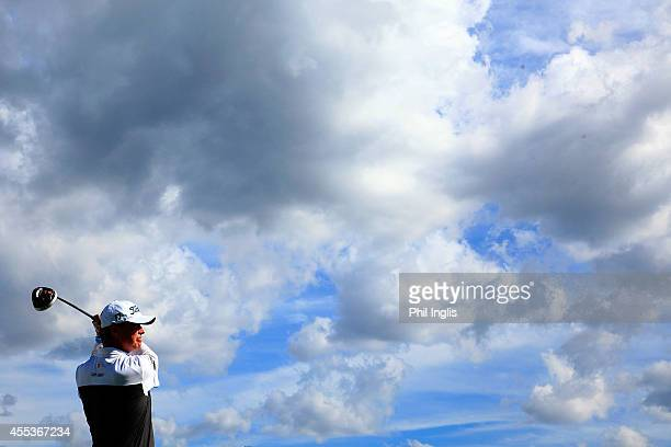 Gary Wolstenholme of England in action during the second round of the Senior Open de Portugal played at Vidago Palace on September 13 2014 in Porto...