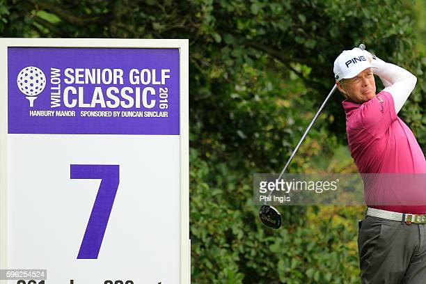 Gary Wolstenholme of England in action during the second round of the Willow Senior Golf Classic played at Hanbury Manor Marriott Hotel and Country...