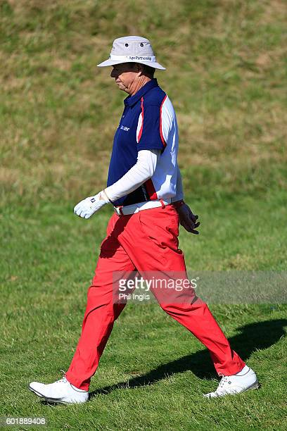 Gary Wolstenholme of England in action during the second round of the Paris Legends Championship played on L'Albatros Course at Le Golf National on...