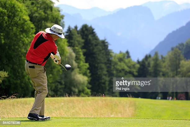 Gary Wolstenholme of England in action during the the first round of the Swiss Seniors Open played at Golf Club Bad Ragaz on July 1 2016 in Bad Ragaz...