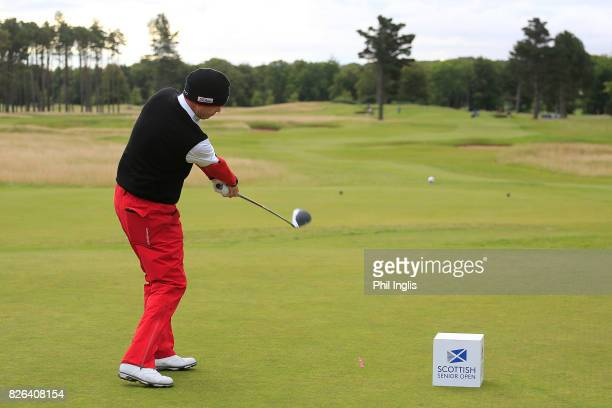 Gary Wolstenholme of England in action on the 1st hole during the first round of the Scottish Senior Open at The Renaissance Club on August 4 2017 in...