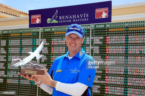 Gary Wolstenholme of England poses with the trophy after the final round of the Benahavis Senior Masters played at La Quinta Golf Country Club on...