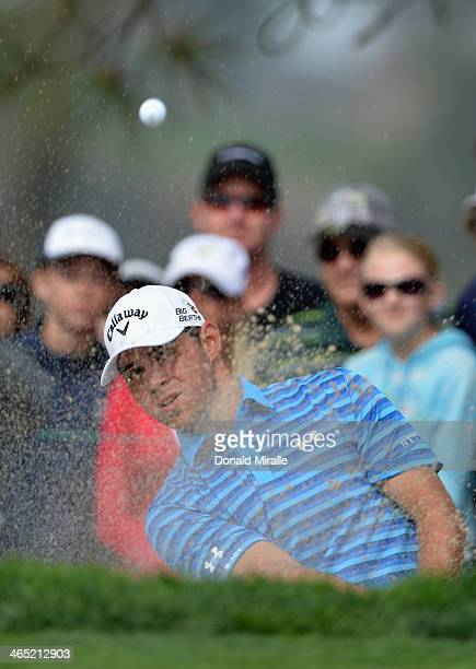 Gary Woodland hits a shot out of a bunker on the 6th hole during the final round of the Farmers Insurance Open on Torrey Pines South on January 26...