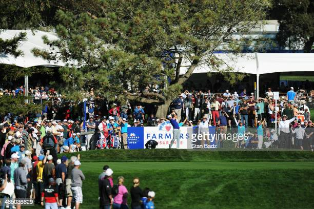 Gary Woodland hits a tee shot on the 16th hole during the third round of the Farmers Insurance Open on Torrey Pines South on January 25 2014 in La...