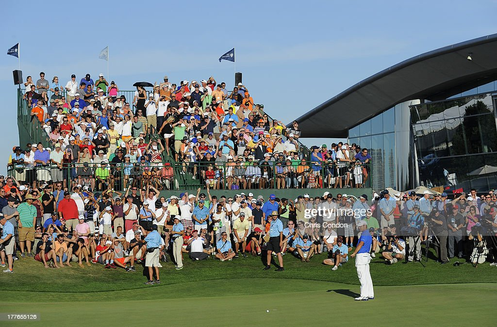 Gary Woodland misses his birdie putt to force a playoff on the 18th green during the final round of The Barclays at Liberty National Golf Club on August 25, 2013 in Jersey City, New Jersey.