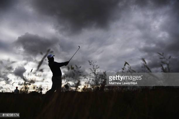 Gary Woodland of the United States hits his second shot on the 2nd hole during the first round of the 146th Open Championship at Royal Birkdale on...