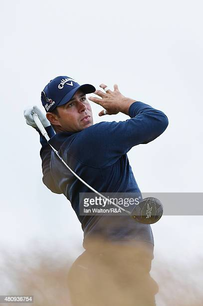 Gary Woodland of the United States hits his tee shot on the 17th hole during the first round of the 144th Open Championship at The Old Course on July...
