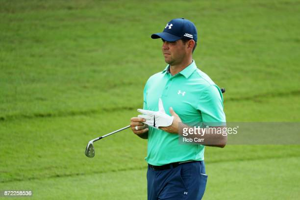 Gary Woodland of the United States looks on during the first round of the OHL Classic at Mayakoba on November 9 2017 in Playa del Carmen Mexico