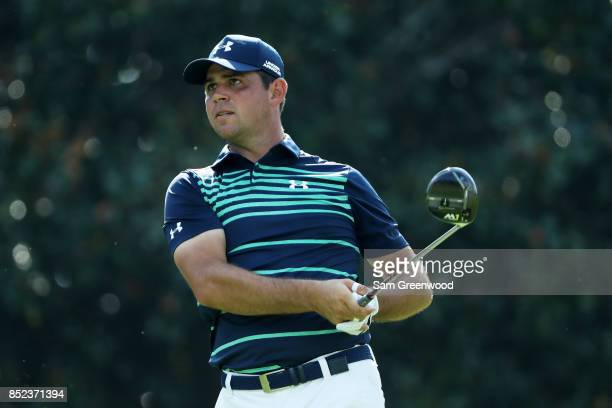 Gary Woodland of the United States plays a shot during the second round of the TOUR Championship at East Lake Golf Club on September 22 2017 in...