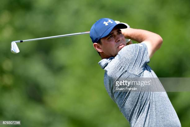 Gary Woodland of the United States plays a shot on the 13th hole during the first round of the 2017 PGA Championship at Quail Hollow Club on August...
