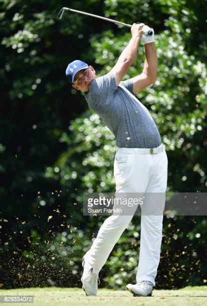 Gary Woodland of the United States plays his shot from the 14th tee during the first round of the 2017 PGA Championship at Quail Hollow Club on...