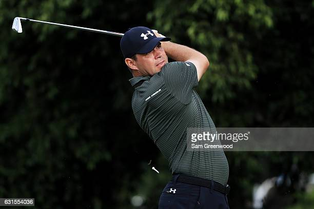 Gary Woodland of the United States plays his shot from the 15th tee during the first round of the Sony Open In Hawaii at Waialae Country Club on...