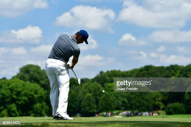 Gary Woodland of the United States plays his shot from the 15th tee during the first round of the 2017 PGA Championship at Quail Hollow Club on...