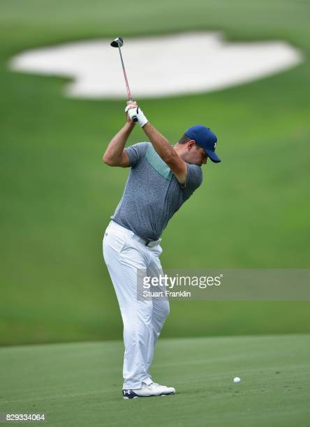 Gary Woodland of the United States plays his shot on the 15th hole during the first round of the 2017 PGA Championship at Quail Hollow Club on August...