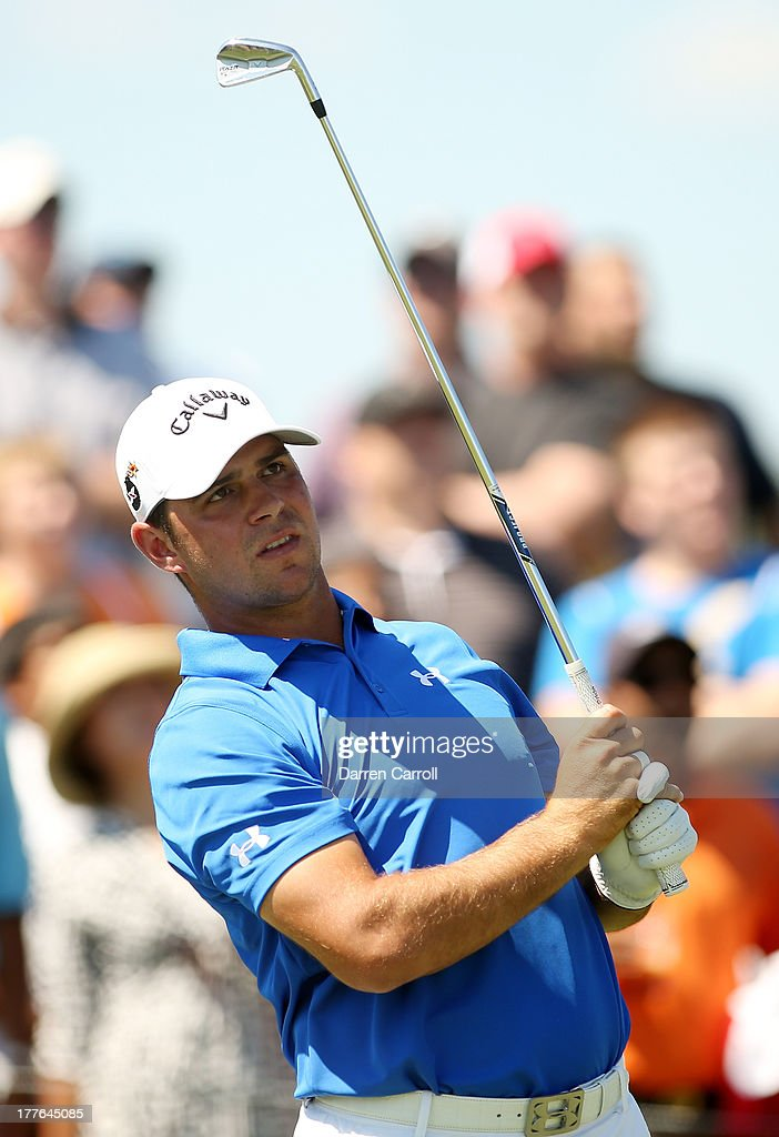 Gary Woodland of the United States watches his tee shot on the second hole during the final round of The Barclays at Liberty National Golf Club on August 25, 2013 in Jersey City, New Jersey.