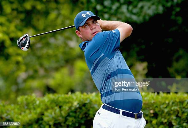 Gary Woodland plays his shot from the first tee during the Final Round at ATT Byron Nelson on May 22 2016 in Irving Texas