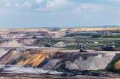 Garzweiler opencast mining lignite, North Rhine-Westphalia, Germany, controversial energy production, the surface mine arouses protest among residents and environmental protection