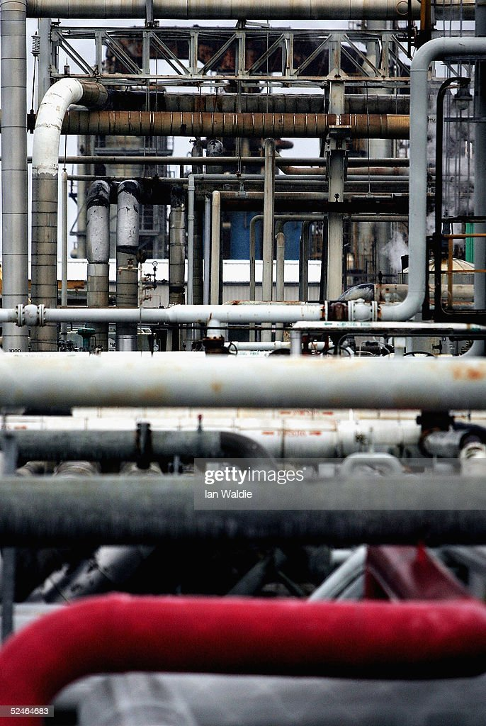 gas and oil pipes wind through the plant at the kurnell oil refinery in sydney march