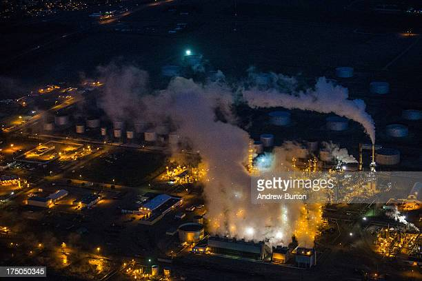 A gas and oil refinery is seen in an aerial view in the early morning hours of July 30 2013 in Bismarck North Dakota The state has seen a boom in oil...
