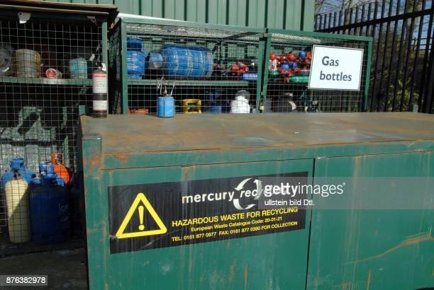 UK Gas bottles in a recycling centre in Winchester Hampshire Photo © Julio Etchart CDREF00556
