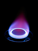 Gas burner with blue flame cooking ring